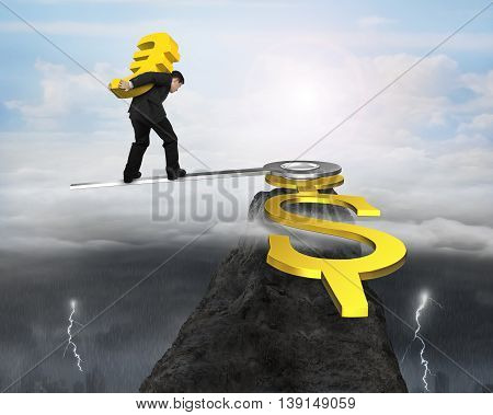 Man Holding Eur Walk On Clock Hands In Usd Sign With Dramatic Weather, 3D Rendering