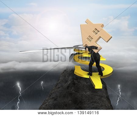 Man Hold Wood House Balance On Usd Clock Hand On Top Of Mountain Peak, 3D Rendering