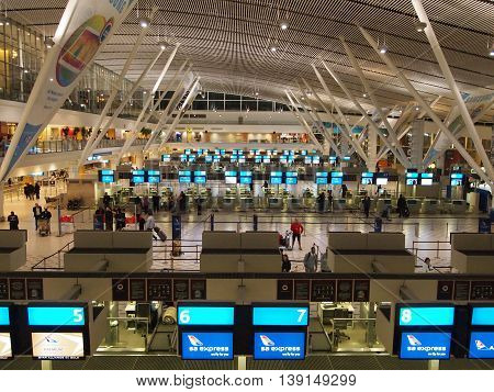 Cape town, South Africa - May 04, 2014. Modern international airport interior. Departure terminal.