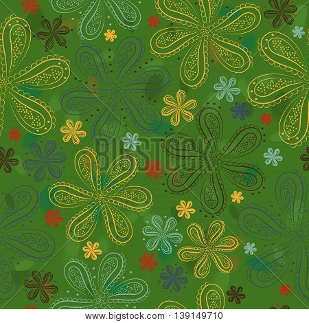 Yellow red and green flowers with watercolor background. Green floral seamless pattern. Illustration.