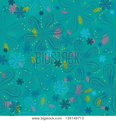 Flowers with watercolor background. Illustration. Blue floral seamless pattern.