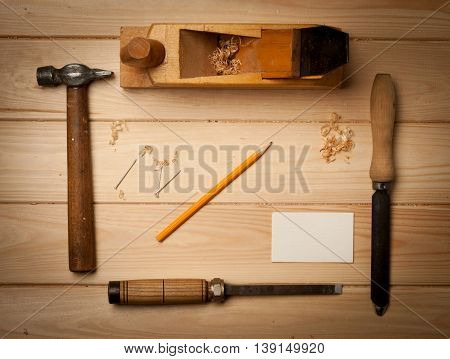 old carpenter's tools for working with wood.
