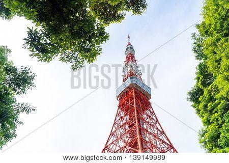 tokyo tower in cloud sky