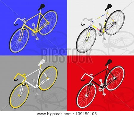 fixed gear bike vector perpective view 3d