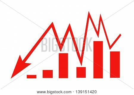 Red sign arrow - graph on a white background .  The concept of changes in market prices