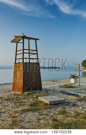 Last rays of sun on beach of Thassos town, East Macedonia and Thrace, Greece