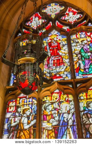 Beautiful Lantern And Stained Glass Window Inside St Giles Cathedral