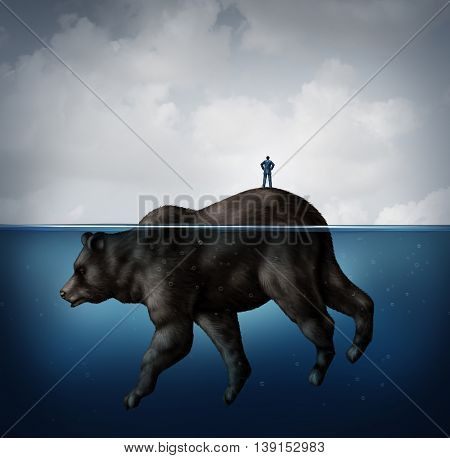 Hidden bear market financial concept as a naive  businessman standing on an island that turns out to be an animal underwater as a metaphor for unknown economic signs of a slowdown in a 3D illustration style.