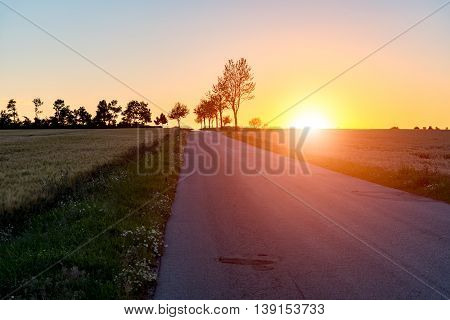 Beautiful sunset above the road between the fields
