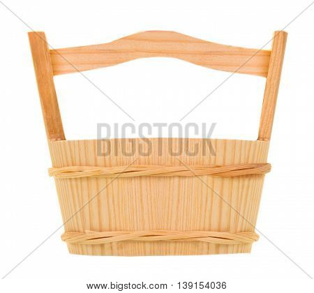 wooden bucket isolated on the white background
