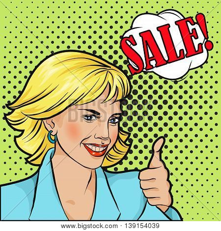sale bobble pop art surprised woman face in glasses with open mouth
