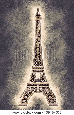 Photo of little model of Eiffel Tower. Image of travel in France and symbol of Paris. Vintage painting, background illustration, beautiful picture, travel texture