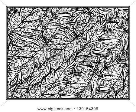 Vector zendoodle feathers pattern coloring page for art therapy