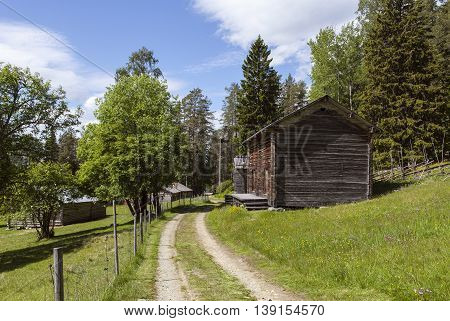 Wooden timber buildings in sunny afternoon. Gravel road crosses the small village on the slope. Farmland this side, forest in the background.