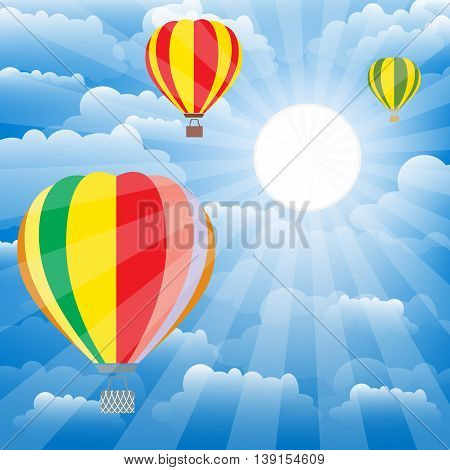 Aerostat balloons over sky. Colorful vector illustration.