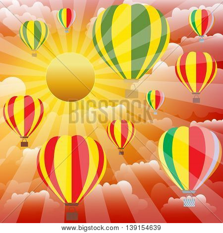 Aerostat balloons over sunset sky. Colorful vector illustration.
