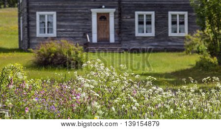 Wooden homestead, timber building beyond wildflowers. Colorful environment in rural country. Farmland and plants, lawn.