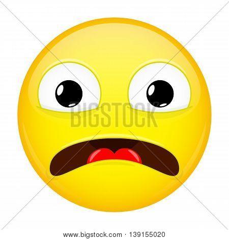 Shocked emoji. Fear emotion. Horror emoticon. Vector illustration smile icon.