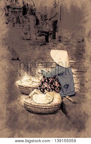 Vietnamese street vendors sells jet fruits in Hoi An, Vietnam. Vintage painting, background illustration, beautiful picture, travel texture