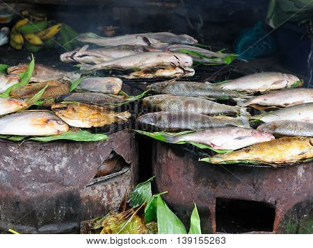 South America Fried fish on the market in the Iquitos major city in Amazonia Peru