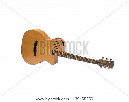 acoustic guitar on white background, side soundhole