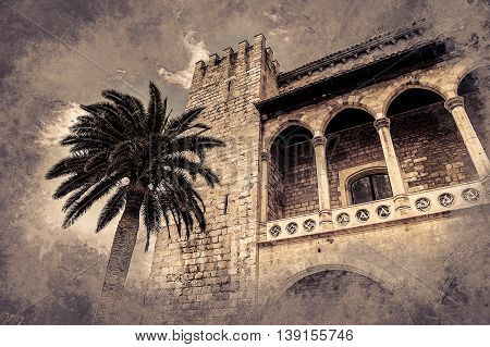 Almudaina palace with palm tree against blue sky and clouds, Palma de Mallorca, Balearic islands, Spain. Modern painting, background illustration.