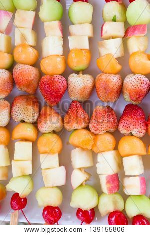 Fruit Salad With Strawberry Apple And Cantaloupe