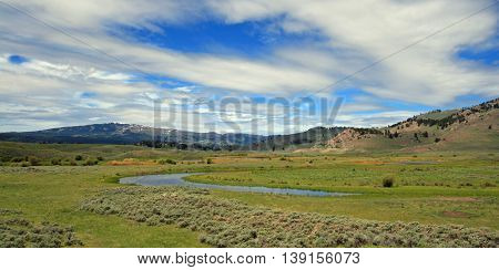 View of Slough Creek in the Lamar Valley of Yellowstone National Park in Wyoming USA