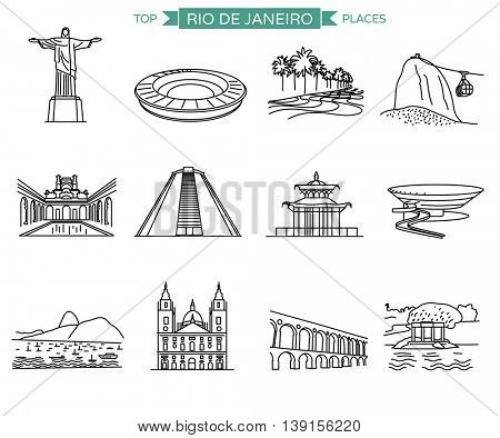 Rio de Janeiro landmarks and top places to visit. Line icons vector set of 12 most popular city sights.