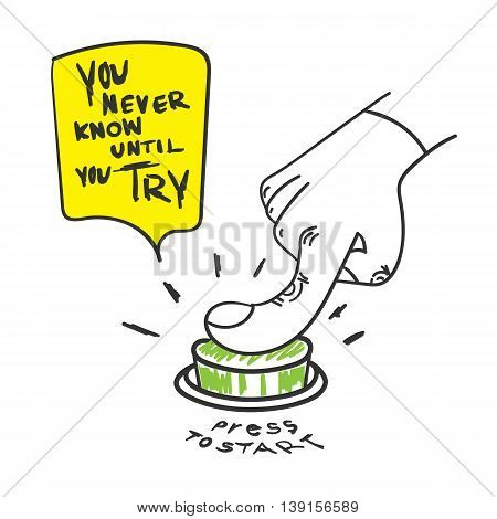 Vector : Motivation Quote, You Never Know Until You Try Word With Hand Press The Start Button, Doodl