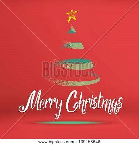 Vector, Merry Christmas Word With Green Christmas Tree On Red Studio Room, Holiday Concept