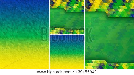 Set of Abstract geometric digital background using Brazil flag colors, A4 size, square format. Vector illustration.