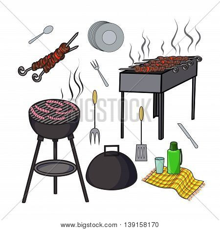 A set of isolated objects for outdoor recreation Grill and barbecue Shish kebab skewers thermos and flasks