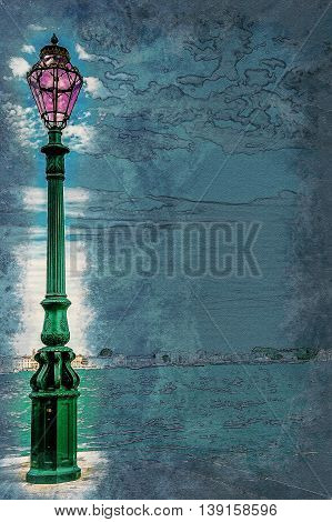 Green lantern on Giudecca island in Venice, Italy. Vintage painting, background illustration, beautiful picture, travel texture