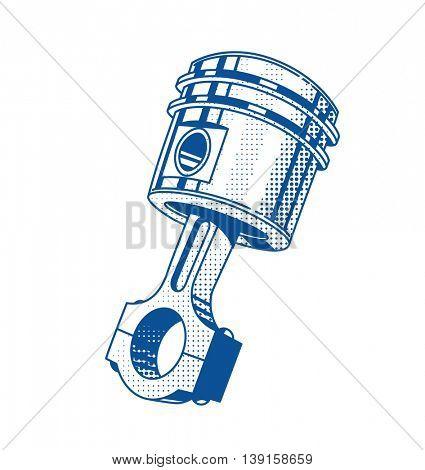 Metallic gear piston car engine part vector illustration automobile repair service transport maintenance vintage graphics steel cylinder