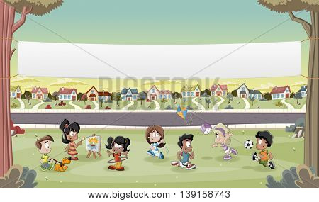 Banner over cartoon kids playing in suburb neighborhood. Green park landscape with grass, trees, and houses.