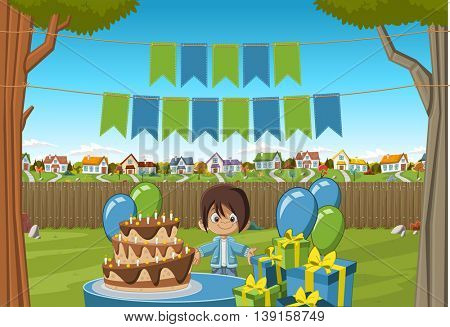 Banners over cartoon boy at a birthday party in the backyard of a colorful house. Suburb neighborhood garden with grass, trees, flowers and houses.