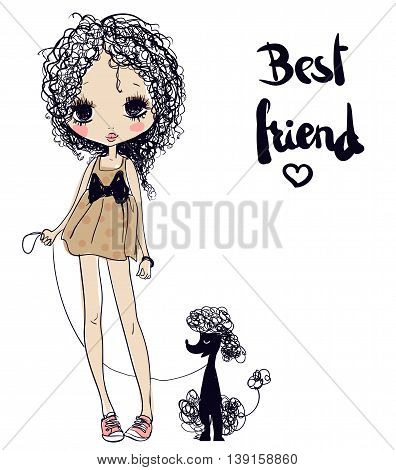 cute summer young cartoon girl with poodle
