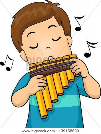 Illustration of a Little Boy Playing with a Pan Flute