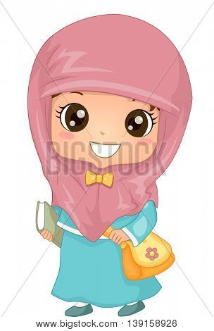 Illustration of a Muslim Girl in Hijab Walking to School