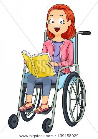 Illustration of a Little Girl in a Wheelchair Reading a Book