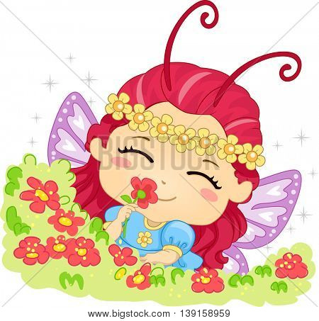 Illustration of a Little Girl Smelling Flowers