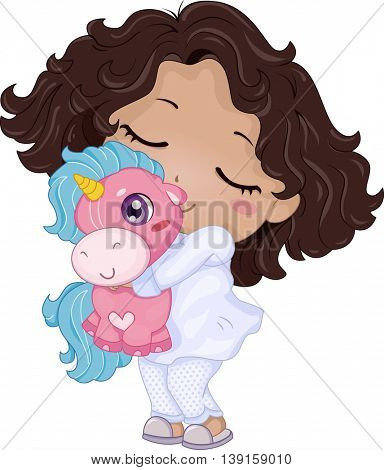 Illustration of a Little Girl Playing with a Unicorn Stuffed Toy
