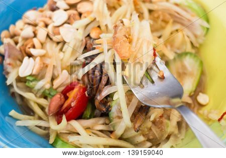Green papaya salad Thai cuisine spicy delicious stock photo