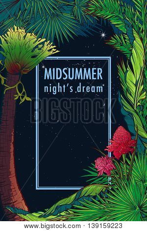 Tropical Floral Frame with blossom and eligera flower. Night sky background. Greeting card, flyer or invitation design template. Portret orientation. EP10 vector illustration.
