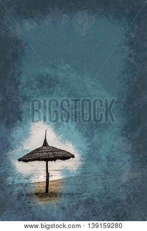 Minimalistic pgoto with straw umbrella on the beach . Vintage painting, background illustration, beautiful picture, travel texture