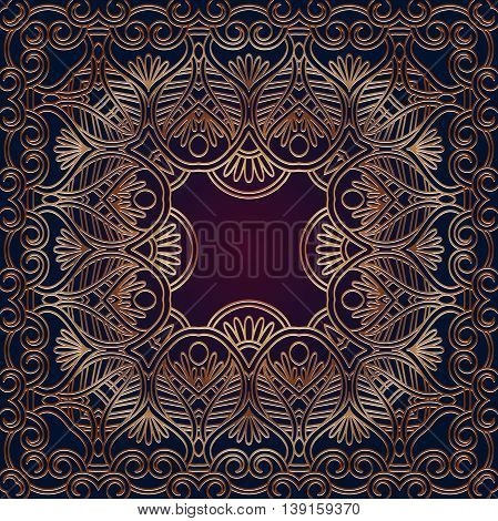 Vector ornamental lace pattern, circle background with many details