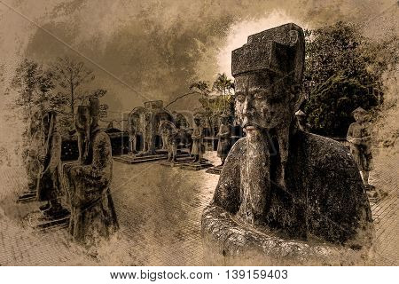 Tomb of Khai Dinh emperor in Hue, Vietnam. A UNESCO World Heritage Site. Modern painting, background illustration.