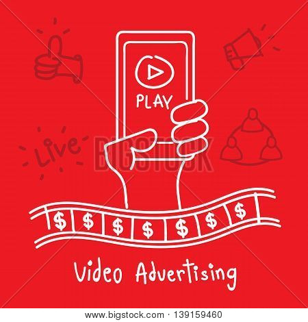 Vector : Video Advertising word with hand holding smart phone with play icon Digital Marketing conceptใ