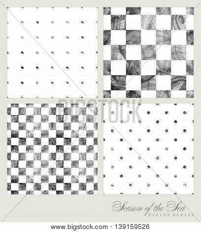 Set of four patterns drawn by hand with pencil. Geometric figures circles and squares. Pencil sketch graphic drawing